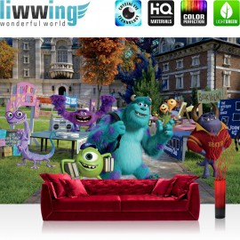 "Vlies Fototapete ""no. 965"" | Disney Tapete Monster AG Kindertapete Cartoon Monsters University Bücher blau | liwwing (R)"
