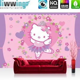 "Vlies Fototapete ""no. 1020"" | Mädchen Tapete Sanrio Hello Kitty Kindertapete Cartoon Katze Blumen Herzen lila | liwwing (R)"