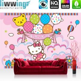 "Vlies Fototapete ""no. 1021"" | Mädchen Tapete Sanrio Hello Kitty Kindertapete Cartoon Katze Sterne Kinder rosa | liwwing (R)"