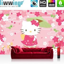 "Vlies Fototapete ""no. 1022"" | Mädchen Tapete Sanrio Hello Kitty Kindertapete Cartoon Katze Blumen Vögel rosa | liwwing (R)"