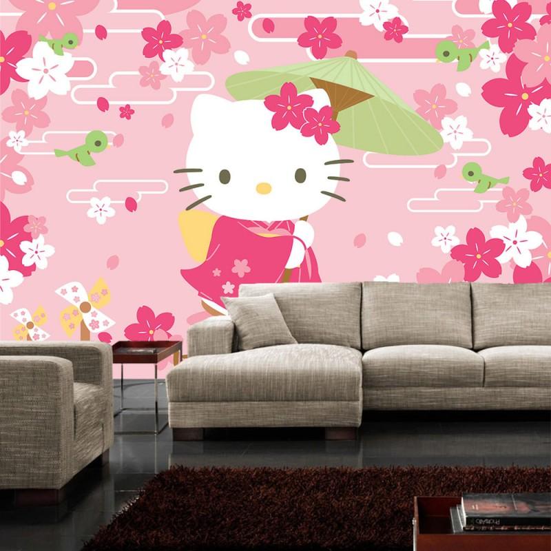 vlies fototapete no 1022 m dchen tapete hello kitty. Black Bedroom Furniture Sets. Home Design Ideas