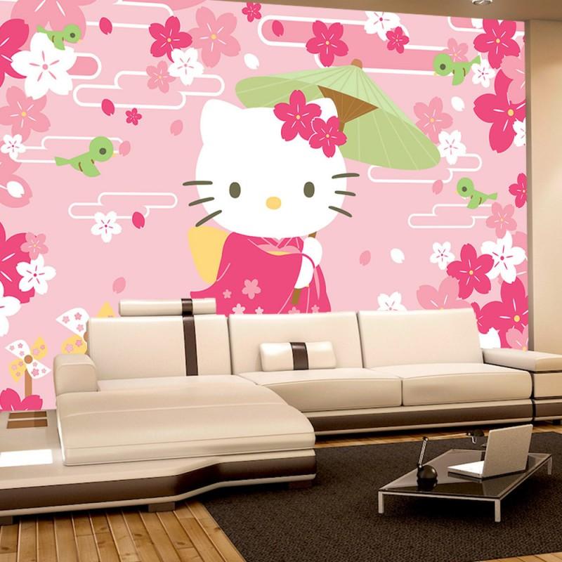 vlies fototapete no 1022 m dchen tapete hello kitty kindertapete cartoon katze blumen. Black Bedroom Furniture Sets. Home Design Ideas