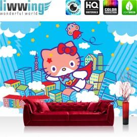 "Vlies Fototapete ""no. 1024"" | Mädchen Tapete Sanrio Hello Kitty Kindertapete Cartoon Katze Wolken Kinder blau | liwwing (R)"
