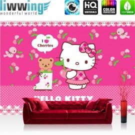 "Vlies Fototapete ""no. 1025"" | Mädchen Tapete Sanrio Hello Kitty Kindertapete Cartoon Katze Herzen Bär pink | liwwing (R)"
