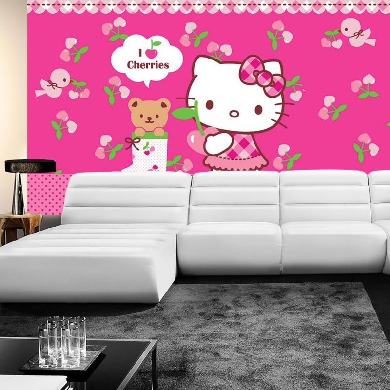vlies fototapete no 1025 m dchen tapete sanrio hello kitty kindertapete cartoon katze. Black Bedroom Furniture Sets. Home Design Ideas