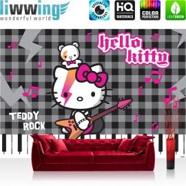 "Vlies Fototapete ""no. 1026"" | Mädchen Tapete Sanrio Hello Kitty Kindertapete Cartoon Katze Gitarre Keyboard grau | liwwing (R)"