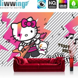 "Vlies Fototapete ""no. 1027"" | Mädchen Tapete Sanrio Hello Kitty Kindertapete Cartoon Katze Gitarre Keyboard pink | liwwing (R)"