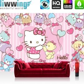"Vlies Fototapete ""no. 1028"" | Mädchen Tapete Sanrio Hello Kitty Kindertapete Cartoon Katze Bären Herzen rosa | liwwing (R)"