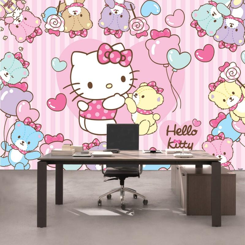 vlies fototapete no 1028 m dchen tapete hello kitty kindertapete cartoon katze b ren. Black Bedroom Furniture Sets. Home Design Ideas
