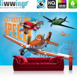 "Vlies Fototapete ""no. 1031"" | Disney Tapete Planes Kindertapete Cartoon Flugzeuge Dusty El Chu Planes Jungen blau | liwwing (R)"