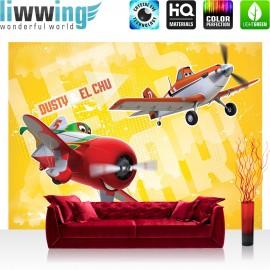 "Vlies Fototapete ""no. 1051"" | Disney Tapete Planes Kindertapete Cartoon Flugzeuge Dusty El Chu Planes Jungen gelb | liwwing (R)"