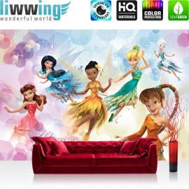 "Vlies Fototapete ""no. 1065"" | Disney Tapete Fairies Die Feen Kindertapete Cartoon Feen Glitzer Kleider Blumen lila | liwwing (R)"