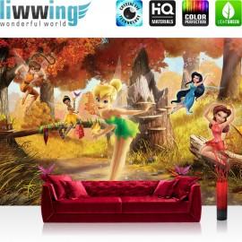 "Vlies Fototapete ""no. 1067"" | Disney Tapete Fairies Die Feen Kindertapete Cartoon Feen Schmetterling Baum braun | liwwing (R)"