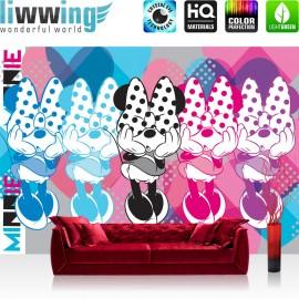 "Vlies Fototapete ""no. 1070"" | Disney Tapete Micky Maus Kindertapete Cartoon Schleife Punkte bunt rosa rosa | liwwing (R)"