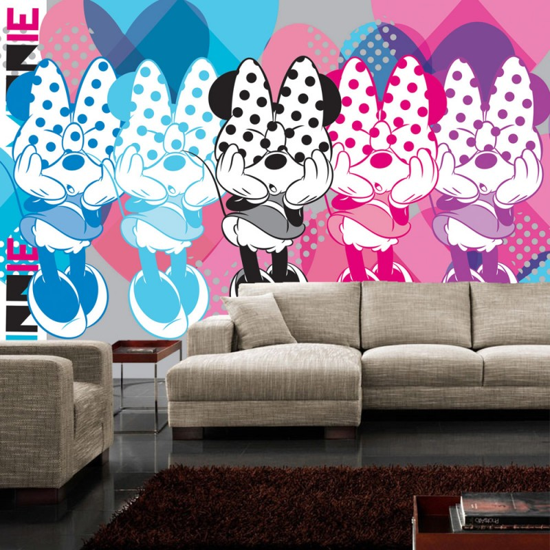 vlies fototapete no 1070 disney tapete micky maus kindertapete cartoon schleife punkte bunt. Black Bedroom Furniture Sets. Home Design Ideas