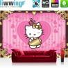 "Vlies Fototapete ""no. 998"" | Mädchen Tapete Sanrio Hello Kitty Kindertapete Cartoon Katze Herzen Ornamente pink | liwwing (R)"