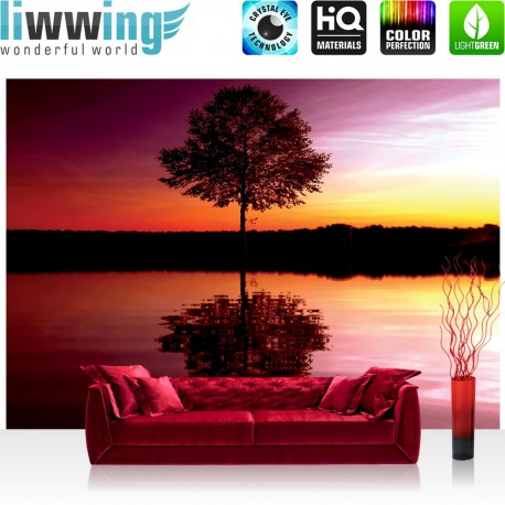 "Vlies Fototapete ""no. 1102"" | Sonnenuntergang Tapete Baum Wasser Natur rot | liwwing (R)"