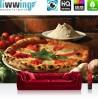 "Vlies Fototapete ""no. 1392"" | Speisen Tapete Pizza Gewürze Gemüse Pilze Tomaten Basilikum braun | liwwing (R)"