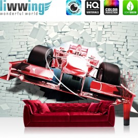 "Vlies Fototapete ""no. 1506"" | Autos Tapete Rennauto Motorsport Fahrzeug Steinwand Mauer rot | liwwing (R)"