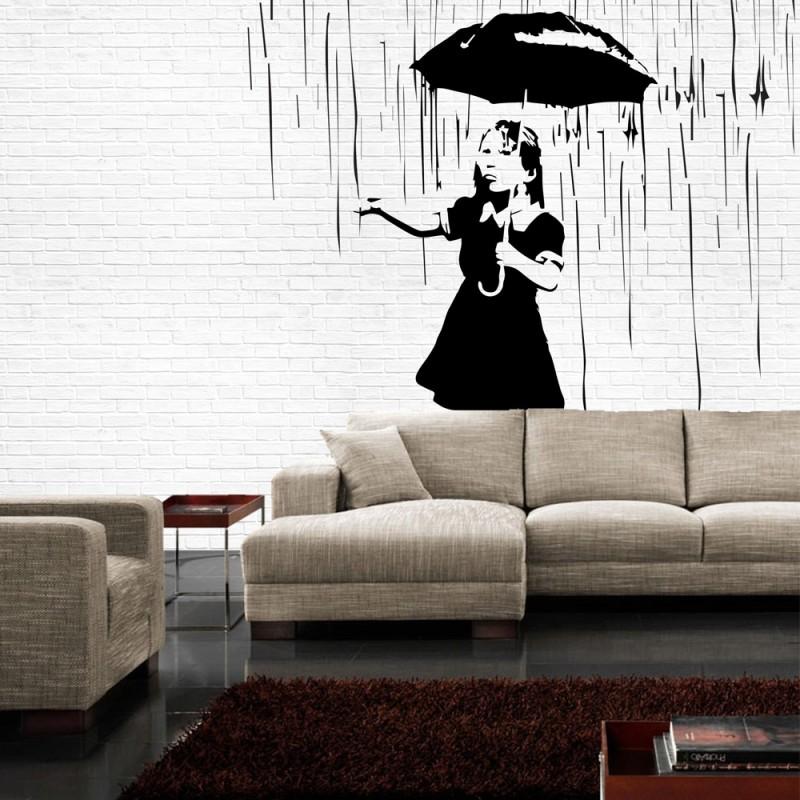 vlies-fototapete-no-1880-illustrationen-tapete-madchen-regen ...