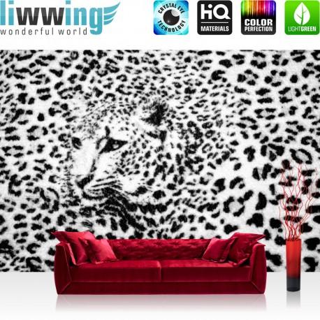 "Vlies Fototapete ""no. 2264"" | Tiere Tapete Leopard Muster Natur Kopf schwarz weiß | liwwing (R)"