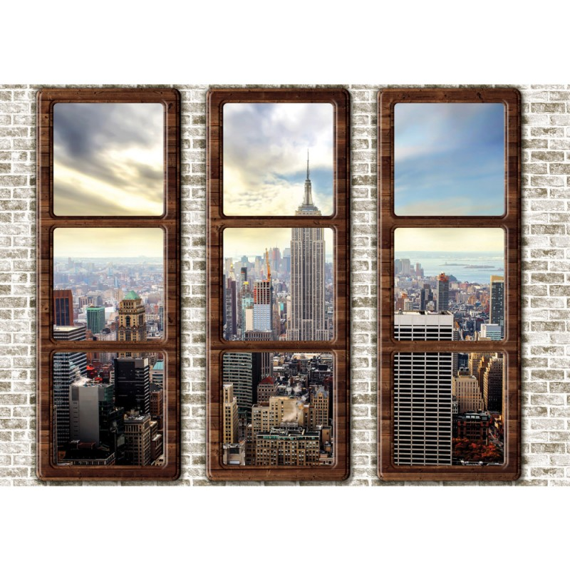 Fototapete fensterblick skyline  Vlies Fototapete no. 2727 | Vliestapete liwwing (R) New York ...