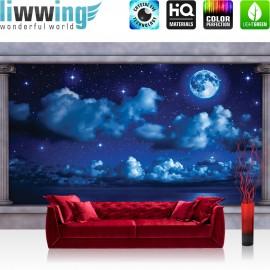 "Vlies Fototapete ""no. 2765"" | Himmel Tapete Mond Sterne Wasser Nacht Säulen blau | liwwing (R)"