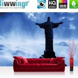 "Vlies Fototapete ""no. 2879"" | Religion Tapete Statue Berge Alpen Cristo Redentor Rio de Janeiro Brasilien blau | liwwing (R)"