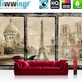 "Vlies Fototapete ""no. 2988"" | Frankreich Tapete Paris Sehenswürdigkeiten Eifelturm Vintage sepia | liwwing (R)"