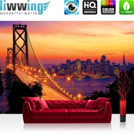 "Vlies Fototapete ""no. 1009"" | USA Tapete Brücke Himmel San Francisco Stadt Skyline Fluss Nacht Golden Bridge orange"