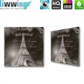 Glasbild ''no. 1367'' | Illustrationen Glasbild Eiffelturm Paris Frankreich Schriftkunst schwarz - weiß | liwwing (R)