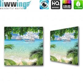 Glasbild ''no. 0793'' | Meer Glasbild Palme Strand Wasser Paradies türkis | liwwing (R)