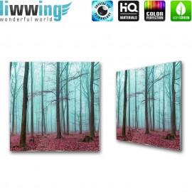 Glasbild ''no. 0818'' | Wald Glasbild Bäume Nebel Natur blau | liwwing (R)