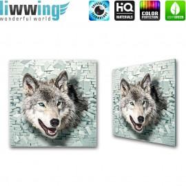 Glasbild ''no. 1387'' | Tiere Glasbild Wolf Natur Fell Steinmauer grau | liwwing (R)