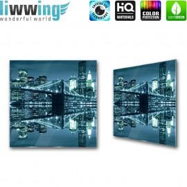 Glasbild ''no. 2267'' | Brücken Glasbild Stadt Nacht Wasser Brücke Skyline blau | liwwing (R)