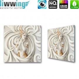 Glasbild ''no. 0045'' | 3D Glasbild Frau Kunst Antik Abstrakt weiß | liwwing (R)