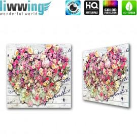 Glasbild ''no. 2670'' | Blumen Glasbild Pflanzen Natur Holz Schrift Kunst bunt | liwwing (R)