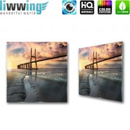 Glasbild ''no. 2671'' | Brücken Glasbild Wasser Meer Architektur bunt | liwwing (R)