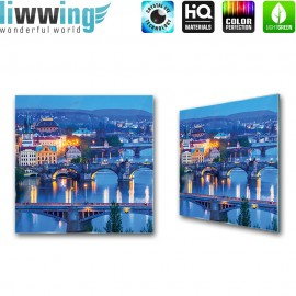 Glasbild ''no. 1764'' | Skylines Glasbild Stadt Aussicht Brücke Häuser Nacht blau | liwwing (R)