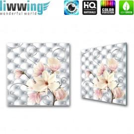 Glasbild ''no. 0950'' | Blumen Glasbild Magnolia Natur Muster rosa | liwwing (R)