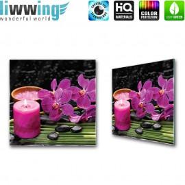 Glasbild ''no. 2542'' | Wellness Glasbild Orchideen Kerze Steine Bambus lila | liwwing (R)