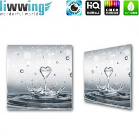 Glasbild ''no. 1905'' | Wasser Glasbild Herz Splash Illustration 3D grau | liwwing (R)