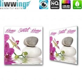 Glasbild ''no. 1306'' | Wellness Glasbild Orchideen Steine Wasser lila | liwwing (R)