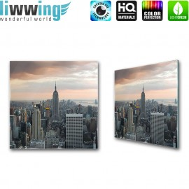 Glasbild ''no. 0325'' | Manhattan Glasbild Skyline Aussicht Stadt New York anthrazit | liwwing (R)