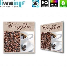 Glasbild ''no. 0297'' | Kaffee Glasbild Bohnen Trinken Koffein braun | liwwing (R)