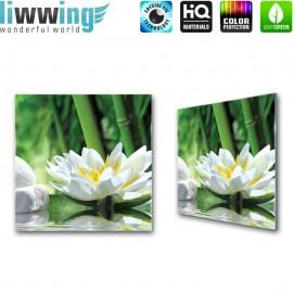"Glasbild ""no. 0085"" | Wellness Glasbild Lotusblüte Blume Wasser grün | liwwing (R)"