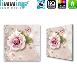 "Glasbild ""no. 0092"" | Blumen Glasbild Rose Ornamente Schriftkunst rosa | liwwing (R)"