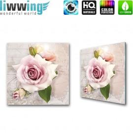"Glasbild ""no. 0093"" | Blumen Glasbild Rose Ornamente Schriftkunst rosa | liwwing (R)"