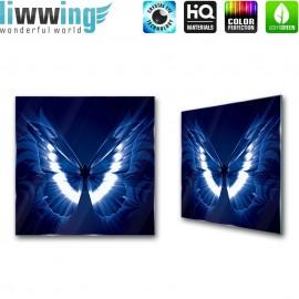 "Glasbild ""no. 0094"" | Tiere Glasbild Schmetterling Kunst Illustration blau | liwwing (R)"