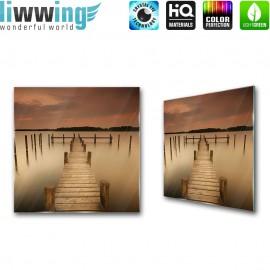 Glasbild ''no. 1255'' | Meer Glasbild Steg Wasser braun | liwwing (R)